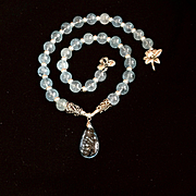 Blue Topaz and Sterling Silver Necklace: Custom Order for CC, 19 Inches
