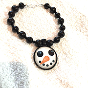 Snowman Bracelet of Black Onyx, 7-3/4 Inches