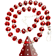 Christmas Tree Necklace of Glass and Crystal, 19 to 21-3/4 Inches
