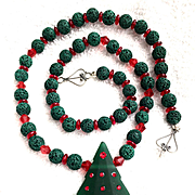 Christmas Tree Necklace of Glass, Crystal & Lava Rock, 22 Inches