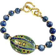 Blue and Gold Bracelet of Kyanite and Porcelain. 7-3/4 Inches