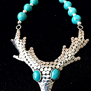 Deer Necklace of Turquoise and Bali Sterling Silver, 19-3/4 Inches
