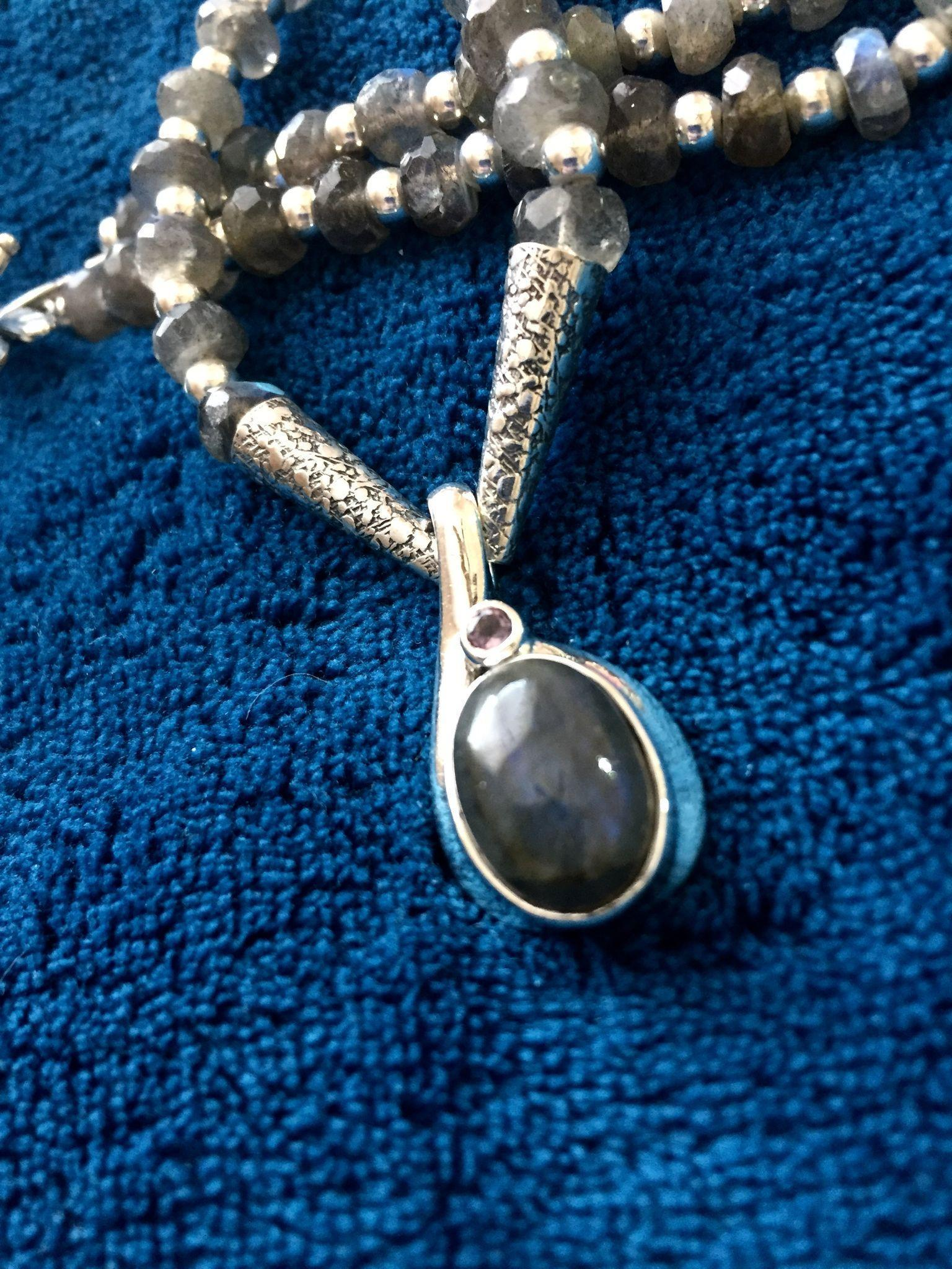 Labradorite and Sterling Silver Necklace, 19 Inches