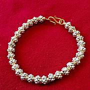 Bali Sterling & Gold-Filled Bracelet, Custom Order for HD, 8-3/4 Inches