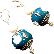 Nepalese Enamel and Agate Earrings, 2-1/4 Inches