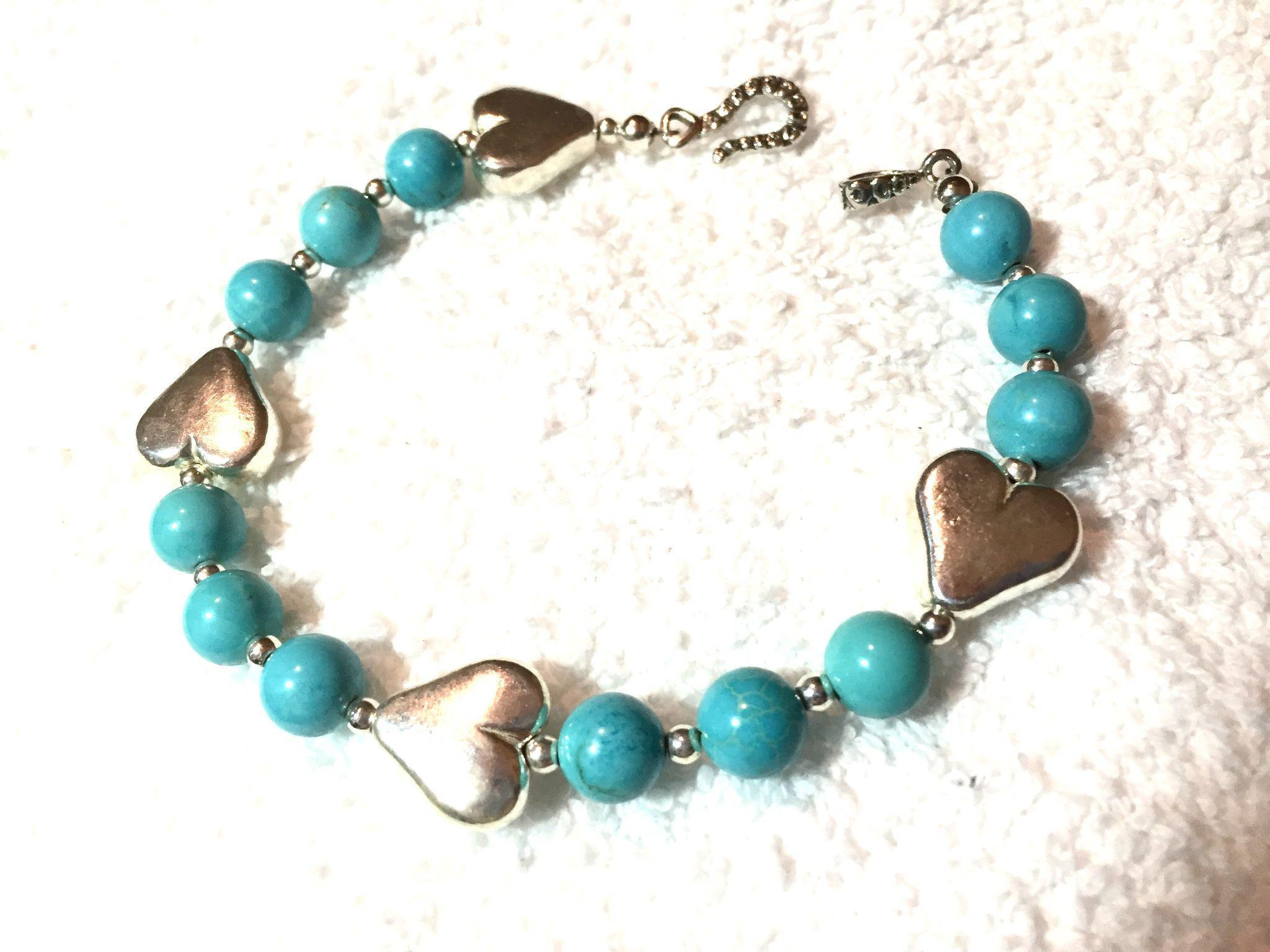 Natural Turquoise & Sterling Silver Heart Bracelet, 8 Inches