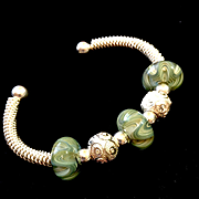 Savory Sage Lampwork and Sterling Silver Bracelet, 7-1/4 Inches