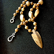 Unisex Picture Jasper Arrowhead Necklace, 18-1/2 Inches