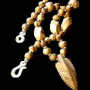 Unisex Picture Jasper Arrowhead Necklace, 18-1/2 Inches