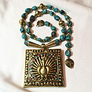 Fabulous Turquoise and Brass Necklace, 25 Inches