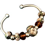 Amber and Peach Lampwork abd Sterling Silver Bracelet, 7 Inches