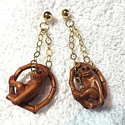 Swingin' Monkey Earrings, 2-1/4 Inches
