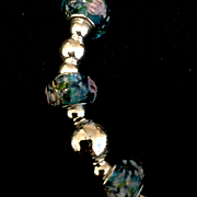Lampwork Glass and Sterling Silver Choker, 18 Inches