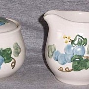 Metlox Poppy Trail Sculptured Grape Creamer and Sugar Set