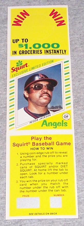 Reggie Jackson Sprite Bottle Hanger Baseball Card