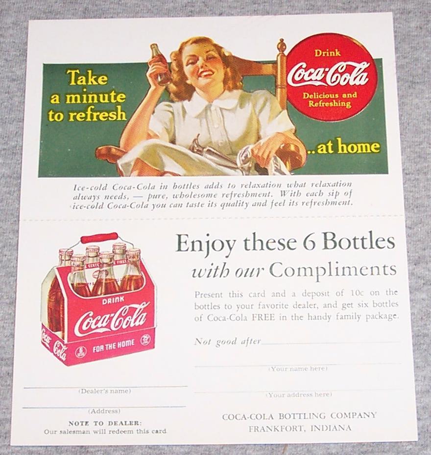 1940's Coca Cola Advertising Card