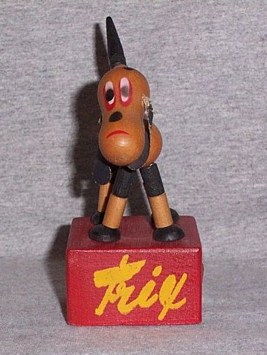 Vintage Wooden Trix the Dog Push Bottom Pop Up Dog Toy