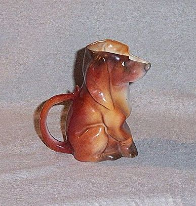 Antique Royal Bayreuth Porcelain Dachshund Creamer Blue Mark