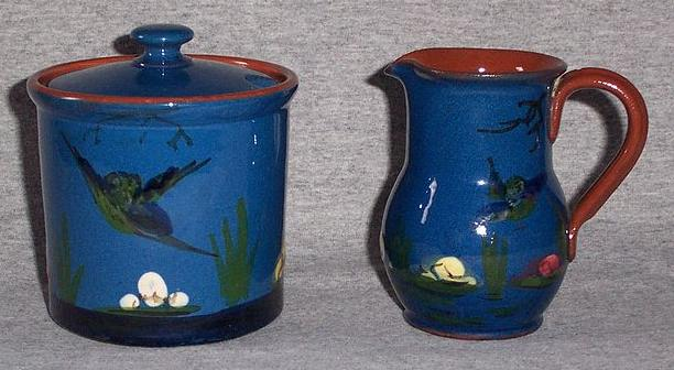 Torquay Pottery King Fisher Creamer and Sugar Bowl