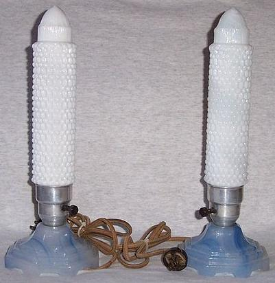 Art Deco Blue Houzex Bullet Lamps