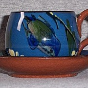 Vintage Torquay Pottery Kingfisher Cup and Saucer