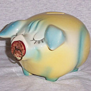 Vintage Hull Pottery Corky Pig Piggy Bank Still Bank