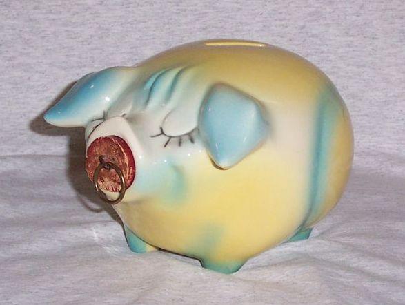 Vintage Hull Pottery Corky Pig Piggy Bank Still Bank