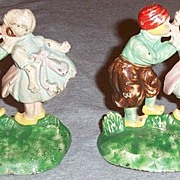 Hubley Cast Iron Kissing Dutch Children Bookends
