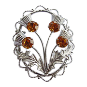 Vintage Sterling Silver Citrine Glass Rhinestone Thistle Pin