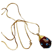 Vintage Blue Rhinestone Studded Chocolate Swirl Bakelite Drop Pendant Necklace