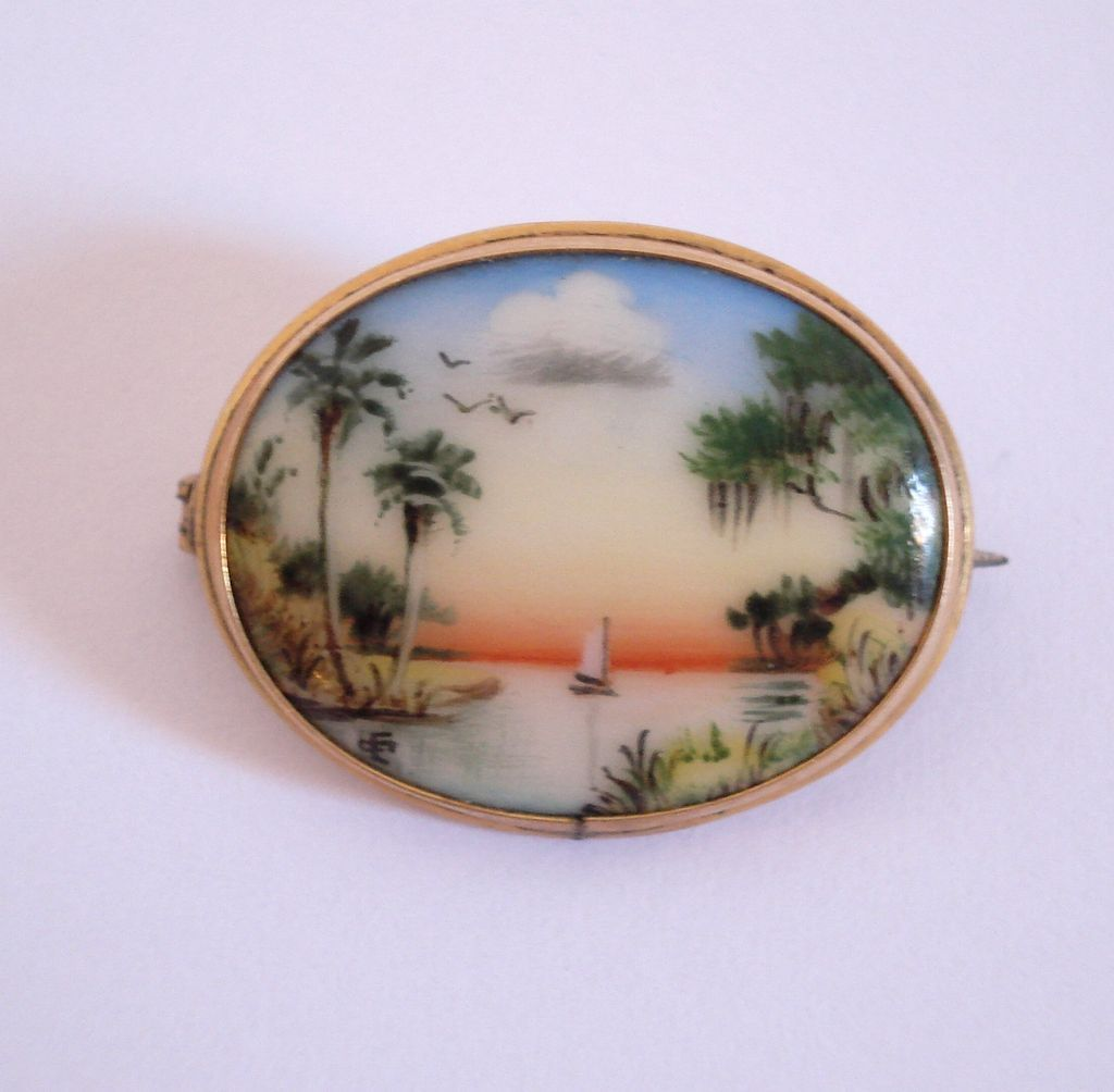 Miniature Painting Florida By Olive Wesler Commons Pin Brooch