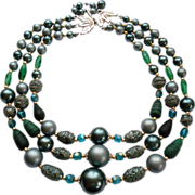 Shades Of Green Faux Pearl Art Glass Necklace