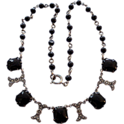 Art Deco Jet Black Glass Faux Marcasite Necklace