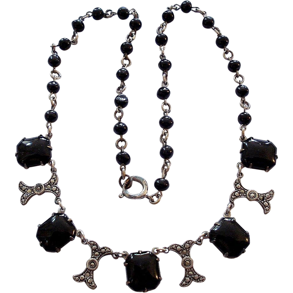 Art Deco Jet Black Glass Faux Marcasite Necklace