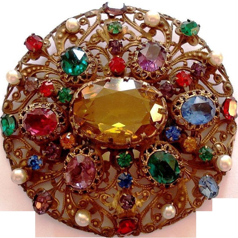 Huge Czech Gilt Brass Filigree Glass Jeweled Brooch Pin