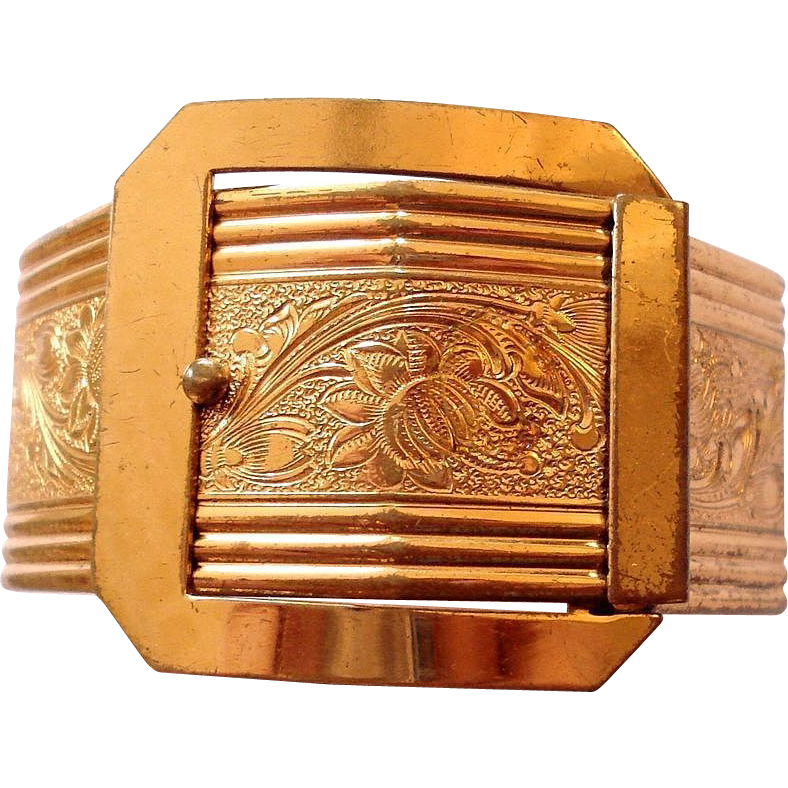 Victorian Revival Embossed Buckle Bangle Bracelet
