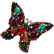 Designer Quality Dark Jeweltone Rhinestone Butterfly Brooch Pin