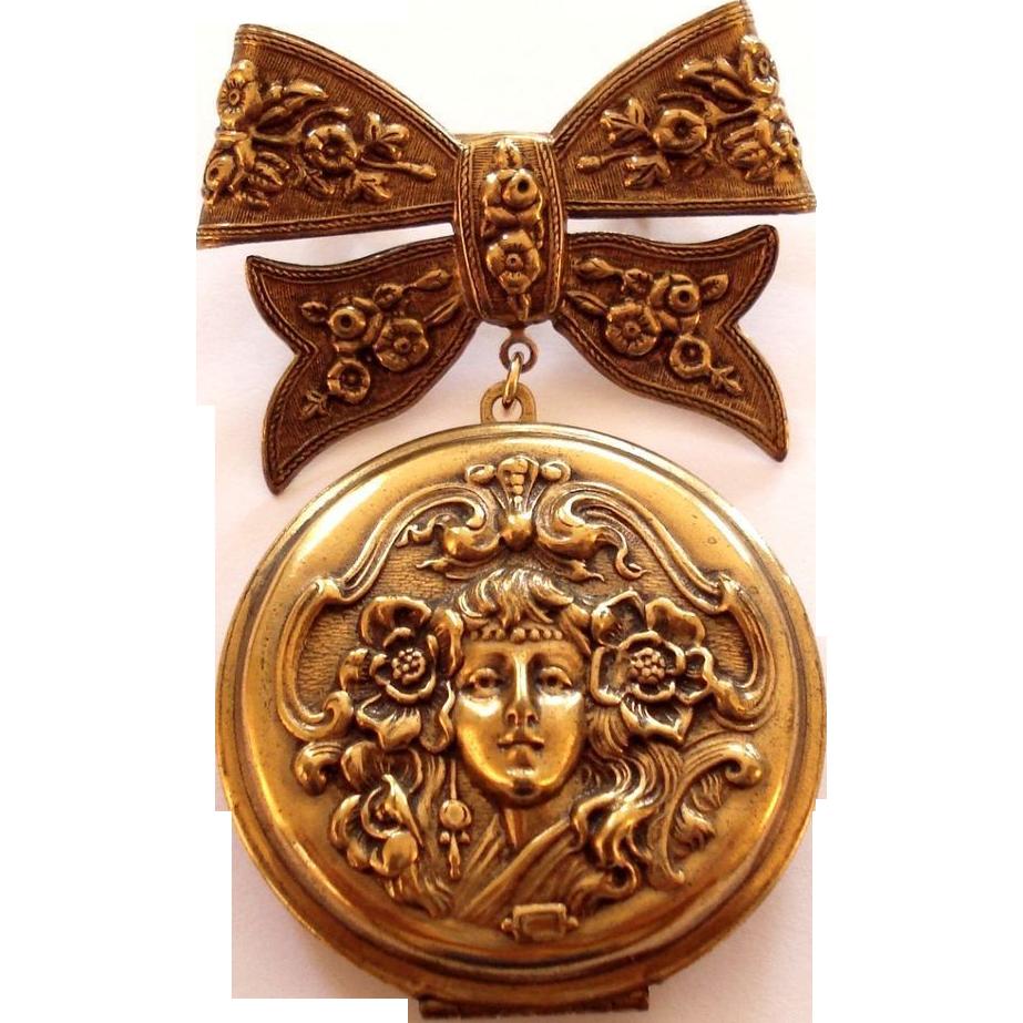 Large Art Nouveau Style Lady Locket Bow Brooch Pin