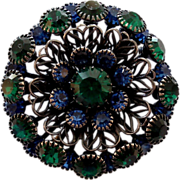 Blue Green Rhinestone Gunmetal Filigree Flower Brooch Pin