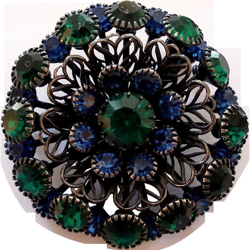 Blue Green Rhinestone Gunmetal Filigree Flower Brooch Pin