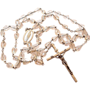Fancy Bell Cut Crystal Bead Rosary Crucifix