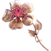 Coro Flower Large Textured Silvertone Rhinestone Brooch Pin