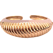 Coro Silvertone Domed Shrimp Clamper Bracelet