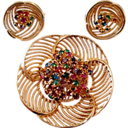 Jewel Tone Rhinestone Round Swirl Pin Earrings Set
