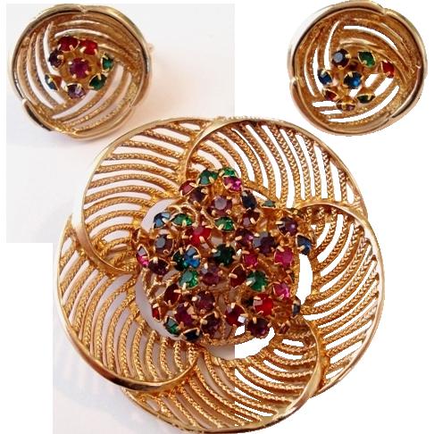 Jewel Tone Rhinestone Round Swirl Pin Earrings Set