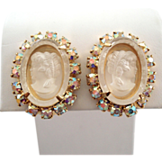 Frosted Glass Cameo Aurora Borealis Rhinestone Earrings