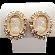 Frosted Glass Cameo Aurora Borealis Rhinestone Earrings