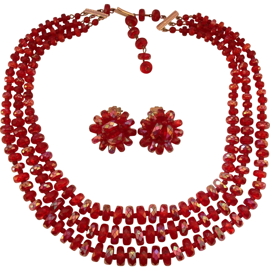 West German Scarlet Red Rainbow Finish Lucite Necklace Earrings Set