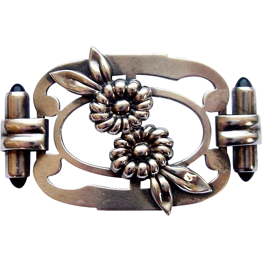 Kreisler Art Deco Floral Sterling Silver Brooch Pin
