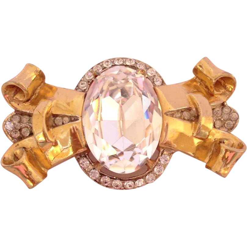 Coro Craft Sterling Silver Gold Wash Retro Rhinestone Brooch Pin